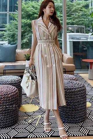 BACKORDER - Cleobelle Double Breasted Striped Dress in Khaki Stripes