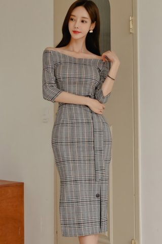 BACKORDER - Dilda Off Shoulder Plaid Dress