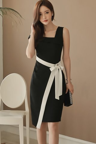 BACKORDER - Elva Asymmetrical Ribbon Tie Dress