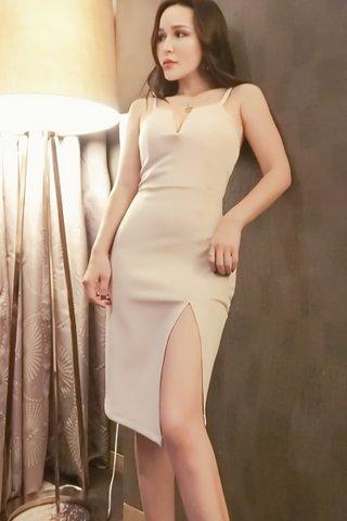 BACKORDER - Eunice Deep V-Neck Slit Dress in Cream