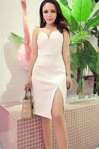 BACKORDER - Eunice Deep V-Neck Slit Dress in White