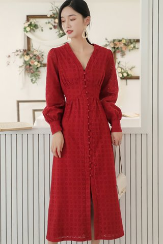 BACKORDER - Hilary Single Breasted Eyelet Dress