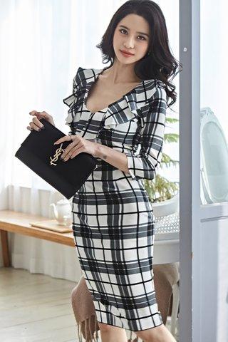 BACKORDER - Joanna Ruffle Checkered Dress