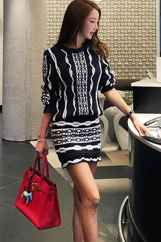 BACKORDER - Josey Sleeve Knit Top With Skirt Set