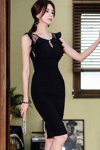 BACKORDER - Kimlin Mesh Shoulder Keyhole Dress