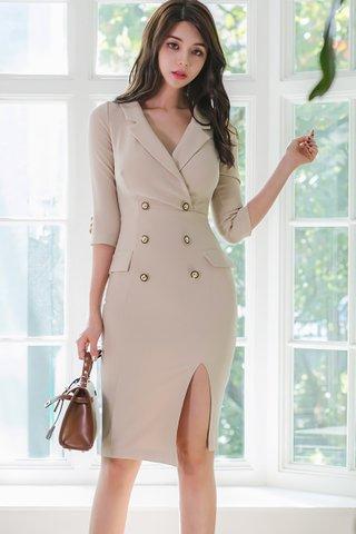 BACKORDER - Kolletta V-Neck Sleeve Slit Dress