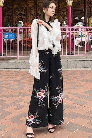 BACKORDER - Loretta Floral Print Slit Pant in Black