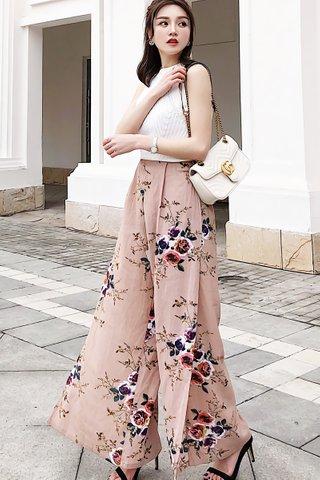 BACKORDER - Loretta Floral Print Slit Pant in Khaki Pink