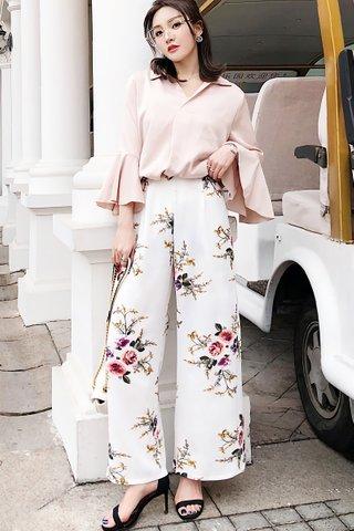 BACKORDER - Loretta Floral Print Slit Pant in White