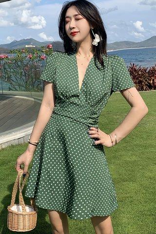 BACKORDER - Megan Deep V-Neck Polka Dot Dress