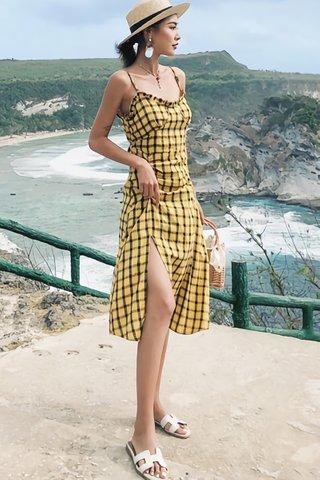 BACKORDER - Nielle Plaid Ruched Slit Dress