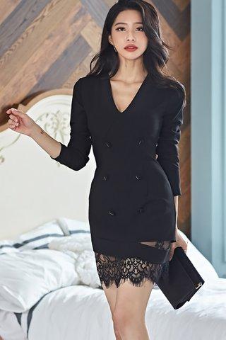 BACKORDER - Perlin V-Neck Sleeve Lace Hem Dress