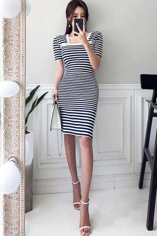 BACKORDER - Remanta Square Neck Striped Sleeve Dress