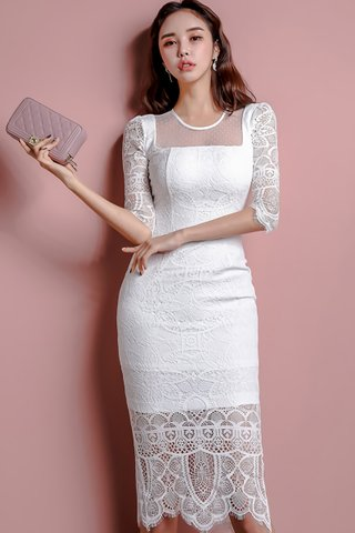 BACKORDER - Romona Floral Lace Sleeve Dress in White