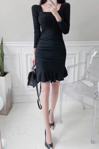 BACKORDER - Skyler Ruched Sleeve Ruffle Hem Dress in Black