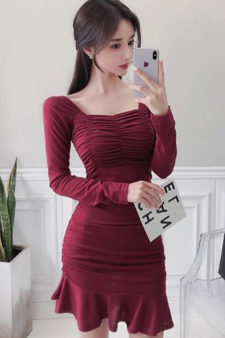BACKORDER - Skyler Ruched Sleeve Ruffle Hem Dress in Wine Red