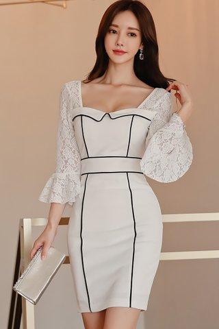 BACKORDER - Velvet Lace Bell Sleeve Mini Dress
