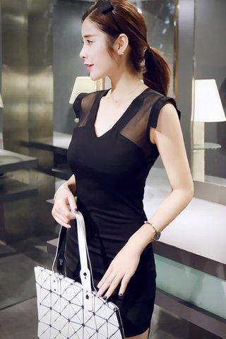 BACKORDER - Alesey Shoulder Mesh Mini Dress