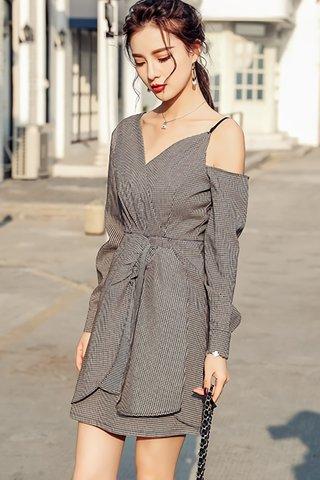 BACKORDER - Chiara Cold Shoulder Plaid Dress