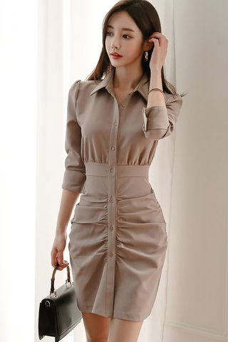 BACKORDER - Clementine Ruched Shirt Dress