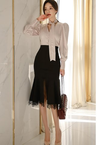 BACKORDER - Feidic Sleeve Top With Lace Mesh Skirt Set