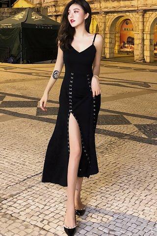 BACKORDER - Felicia V-Neck Hook Bare Back Dress