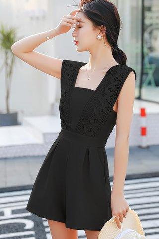 INSTOCK - Flornia Sleeveless Crochet Romper in Black