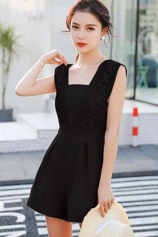 BACKORDER - Flornia Sleeveless Crochet Romper in Black