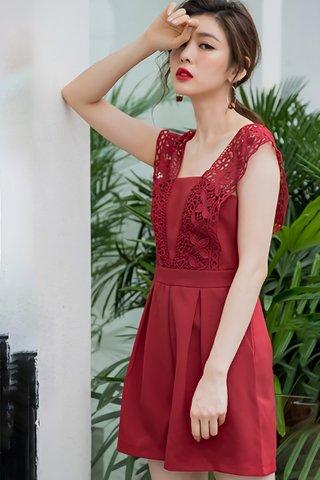 BACKORDER - Flornia Sleeveless Crochet Romper in Red