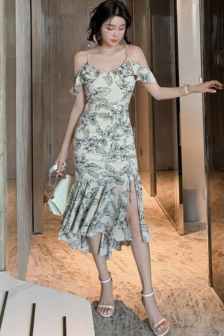 BACKORDER - Iriene Floral Print Cold Shoulder Dress