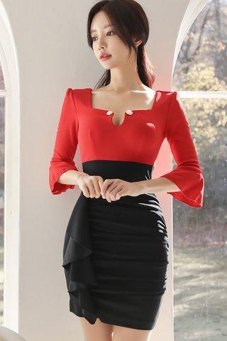 BACKORDER - Janie Bell Sleeve Cascade Ruffle Dress in Red