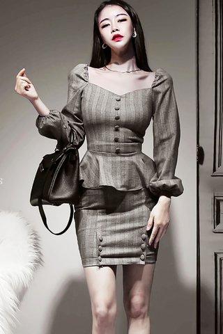 BACKORDER - Kalisse Sleeve Button Peplum Top With Skirt Set