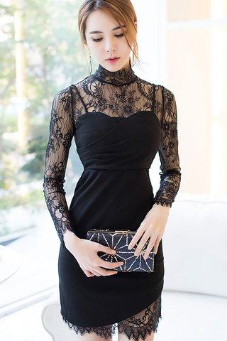 BACKORDER - Kalver Lace Sleeve Mini Dress