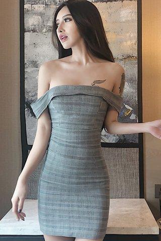 BACKORDER - Kanette Off Shoulder Plaid Dress