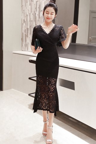 BACKORDER - Kellana V-Neck Lace Dress in Black