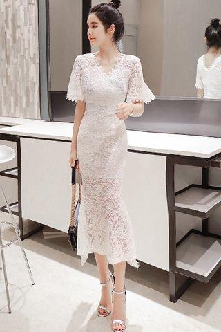 BACKORDER - Kellana V-Neck Lace Dress in White