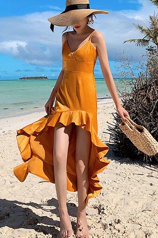 BACKORDER - Komadic Ruffle Hem Asymmetrical Dress In Yellow