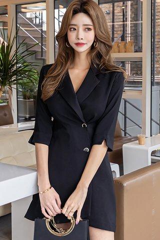 BACKORDER - Lindsay Sleeve Cut Out Sleeve Asymmetrical Dress in Black