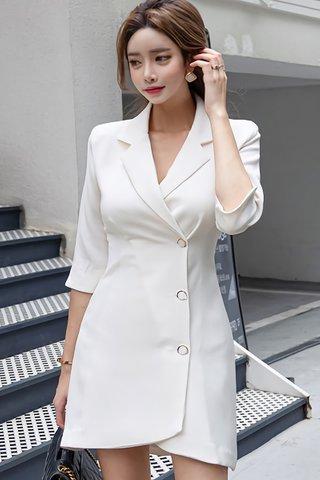 BACKORDER - Lindsay Sleeve Cut Out Sleeve Asymmetrical Dress in White