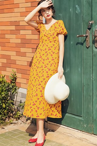 BACKORDER - Maria V-Neck Puff Sleeve Dress in Yellow