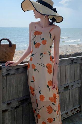 BACKORDER - Rosabel Floral Print Back Ribbon Tie Dress