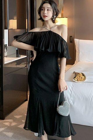 BACKORDER - Rosamery Cold Shoulder Pleated Dress in Black