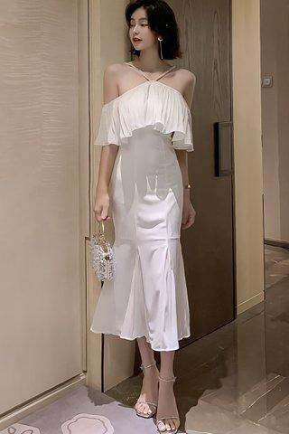 BACKORDER - Rosamery Cold Shoulder Pleated Dress in White