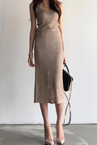 BACKORDER - Sadie Eyelet V-Neck Top With Skirt Set in Khaki