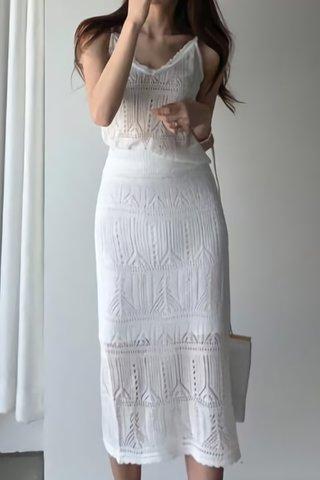 BACKORDER - Sadie Eyelet V-Neck Top With Skirt Set in White