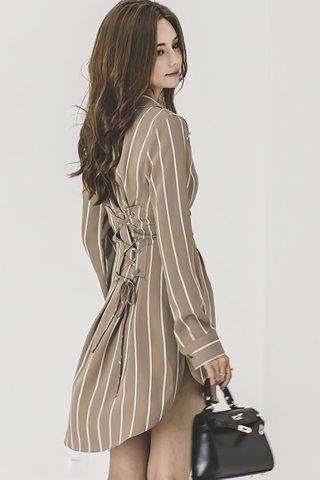 BACKORDER - Sahara V-Neck Pinstipe Dress