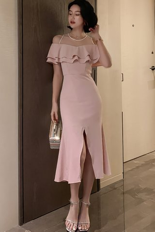 BACKORDER - Sahiene Mesh Shoulder Cold Shoulder Dress