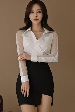 BACKORDER - Shuilee Mesh Sleeve Top With Skirt Set