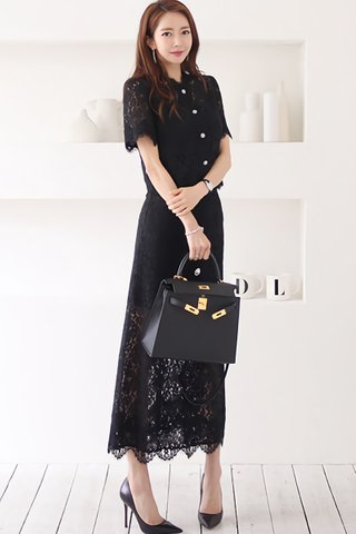 BACKORDER - Shulene Lace Top With Skirt Set In Black