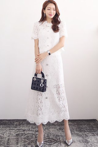 BACKORDER - Shulene Lace Top With Skirt Set In White